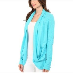 Lilly Pulitzer Leslie Sea Blue Open Cardigan M
